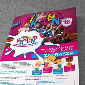 Fikoland Centrum Zabaw dla dzieci - Projekt ulotki - Białystok