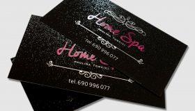 Wizytówki Home Spa – Folia softskin + lakier UV